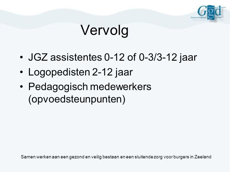 Vervolg •JGZ assistentes 0-12 of 0-3/3-12 jaar •Logopedisten 2-12 jaar •Pedagogisch medewerkers (opvoedsteunpunten) Samen werken aan een gezond en vei