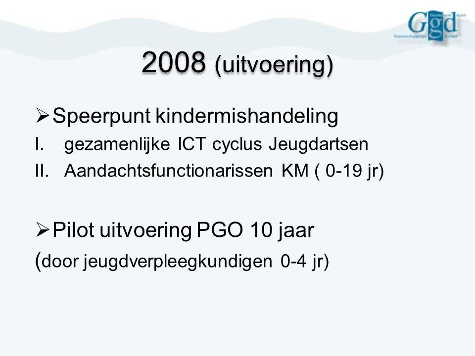2008 (uitvoering)  Speerpunt kindermishandeling I.gezamenlijke ICT cyclus Jeugdartsen II.Aandachtsfunctionarissen KM ( 0-19 jr)  Pilot uitvoering PG