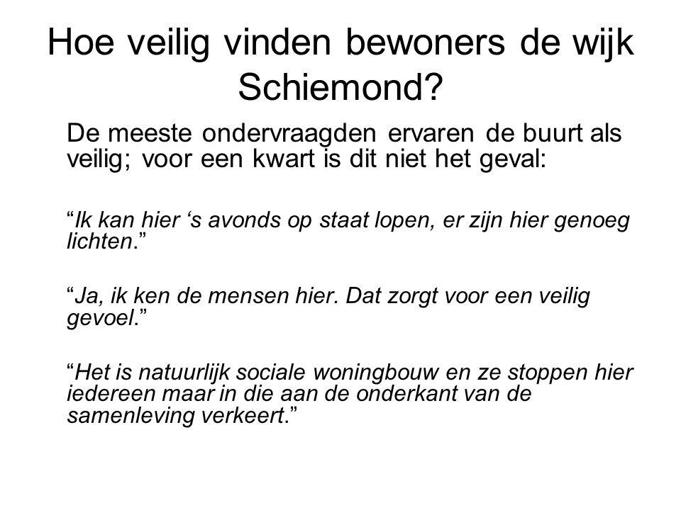 """Hoe veilig vinden bewoners de wijk Schiemond? De meeste ondervraagden ervaren de buurt als veilig; voor een kwart is dit niet het geval: """"Ik kan hier"""