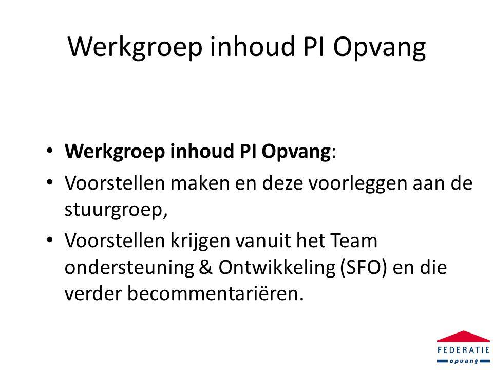 Werkgroep inhoud PI Opvang • Werkgroep inhoud PI Opvang: • Voorstellen maken en deze voorleggen aan de stuurgroep, • Voorstellen krijgen vanuit het Team ondersteuning & Ontwikkeling (SFO) en die verder becommentariëren.
