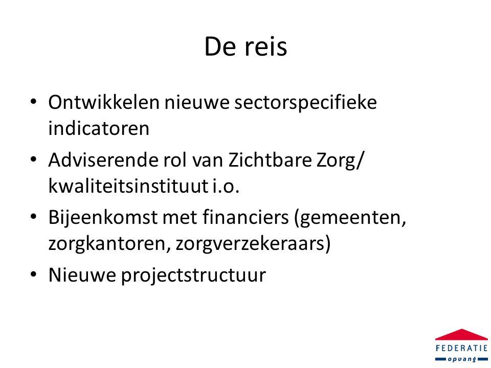 De reis • Ontwikkelen nieuwe sectorspecifieke indicatoren • Adviserende rol van Zichtbare Zorg/ kwaliteitsinstituut i.o.