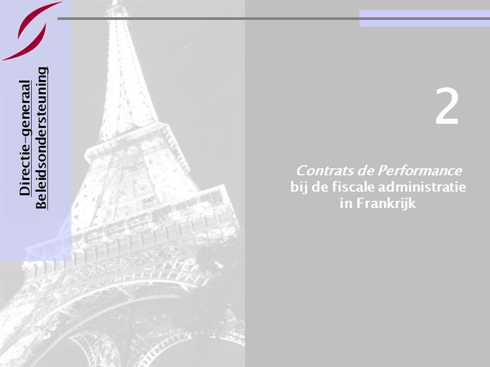 Voorbeelden van management- contracten voor departementen Pagina 10 Directie-generaal Beleidsondersteuning Contrats de Performance bij de fiscale admi