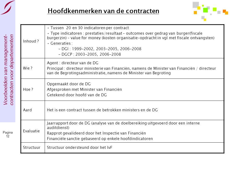 Voorbeelden van management- contracten voor departementen Pagina 12 Hoofdkenmerken van de contracten Inhoud ? • Tussen 20 en 30 indicatoren per contra