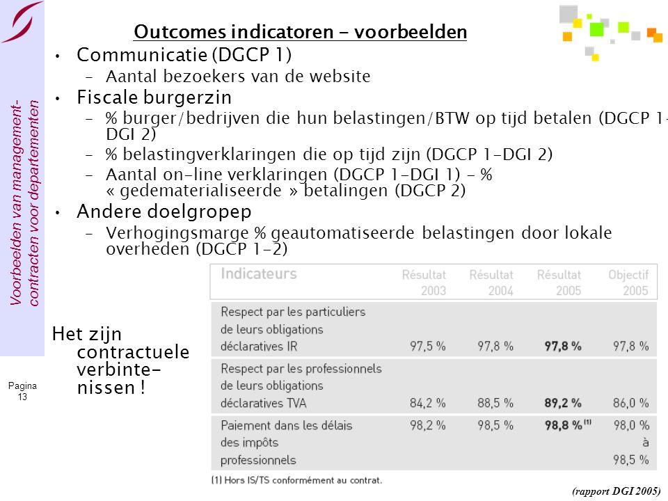 Voorbeelden van management- contracten voor departementen Pagina 13 Outcomes indicatoren - voorbeelden •Communicatie (DGCP 1) –Aantal bezoekers van de