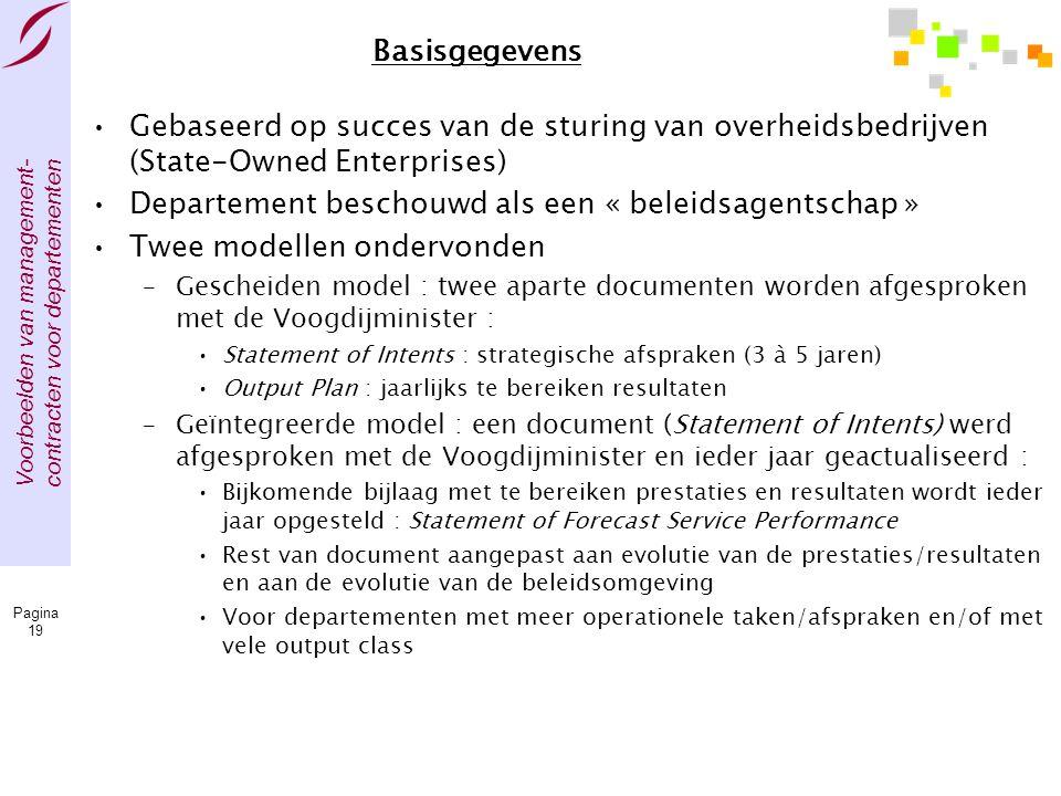 Voorbeelden van management- contracten voor departementen Pagina 19 Basisgegevens •Gebaseerd op succes van de sturing van overheidsbedrijven (State-Ow