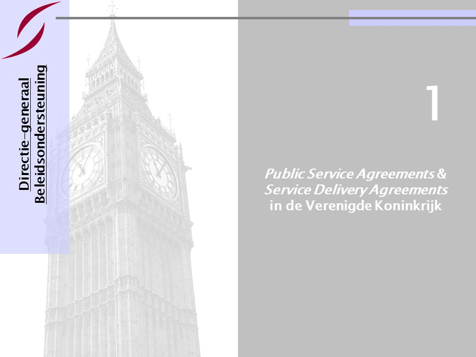 Voorbeelden van management- contracten voor departementen Pagina 3 Public Service Agreements & Service Delivery Agreements in de Verenigde Koninkrijk