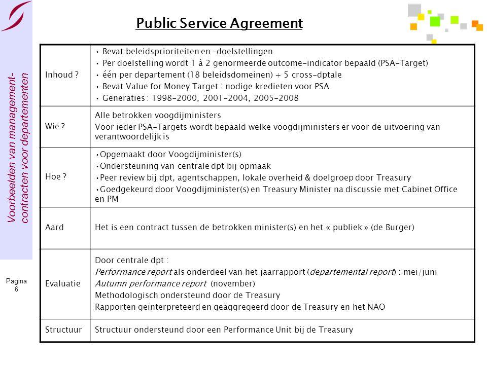 Voorbeelden van management- contracten voor departementen Pagina 6 Public Service Agreement Inhoud ? • Bevat beleidsprioriteiten en –doelstellingen •