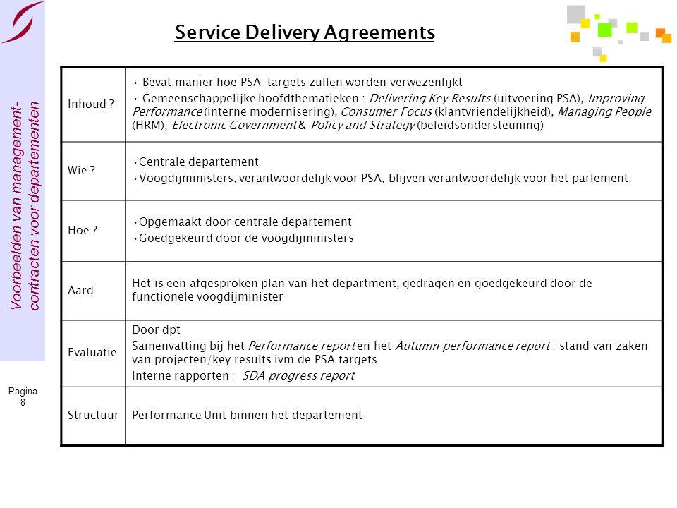 Voorbeelden van management- contracten voor departementen Pagina 8 Service Delivery Agreements Inhoud ? • Bevat manier hoe PSA-targets zullen worden v