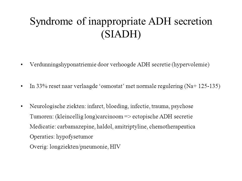 Syndrome of inappropriate ADH secretion (SIADH) •Verdunningshyponatriemie door verhoogde ADH secretie (hypervolemie) •In 33% reset naar verlaagde 'osmostat' met normale regulering (Na+ 125-135) •Neurologische ziekten: infarct, bloeding, infectie, trauma, psychose Tumoren: (kleincellig long)carcinoom => ectopische ADH secretie Medicatie: carbamazepine, haldol, amitriptyline, chemotherapeutica Operaties: hypofysetumor Overig: longziekten/pneumonie, HIV