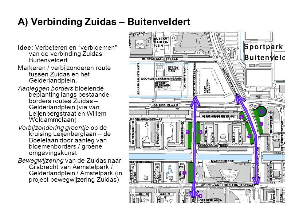 """A) Verbinding Zuidas – Buitenveldert Idee: Verbeteren en """"verbloemen"""" van de verbinding Zuidas- Buitenveldert Markeren / verbijzonderen route tussen Z"""
