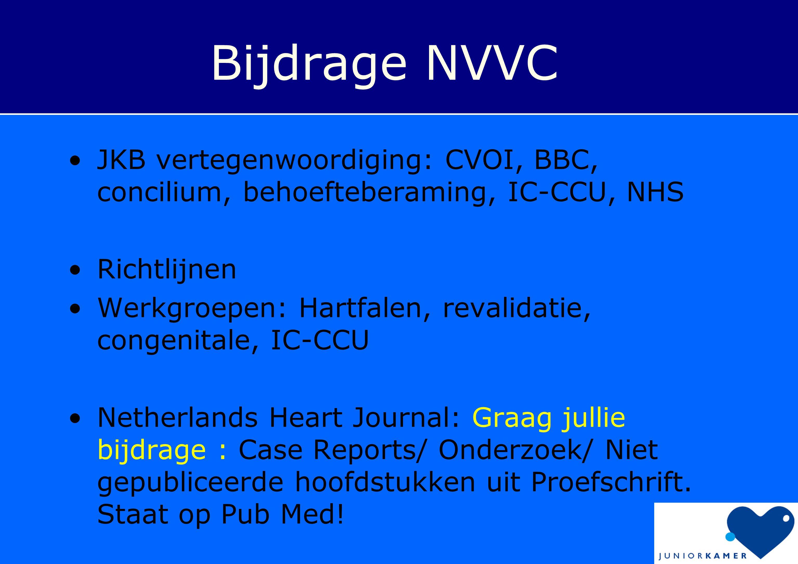 Bijdrage NVVC •JKB vertegenwoordiging: CVOI, BBC, concilium, behoefteberaming, IC-CCU, NHS •Richtlijnen •Werkgroepen: Hartfalen, revalidatie, congenit