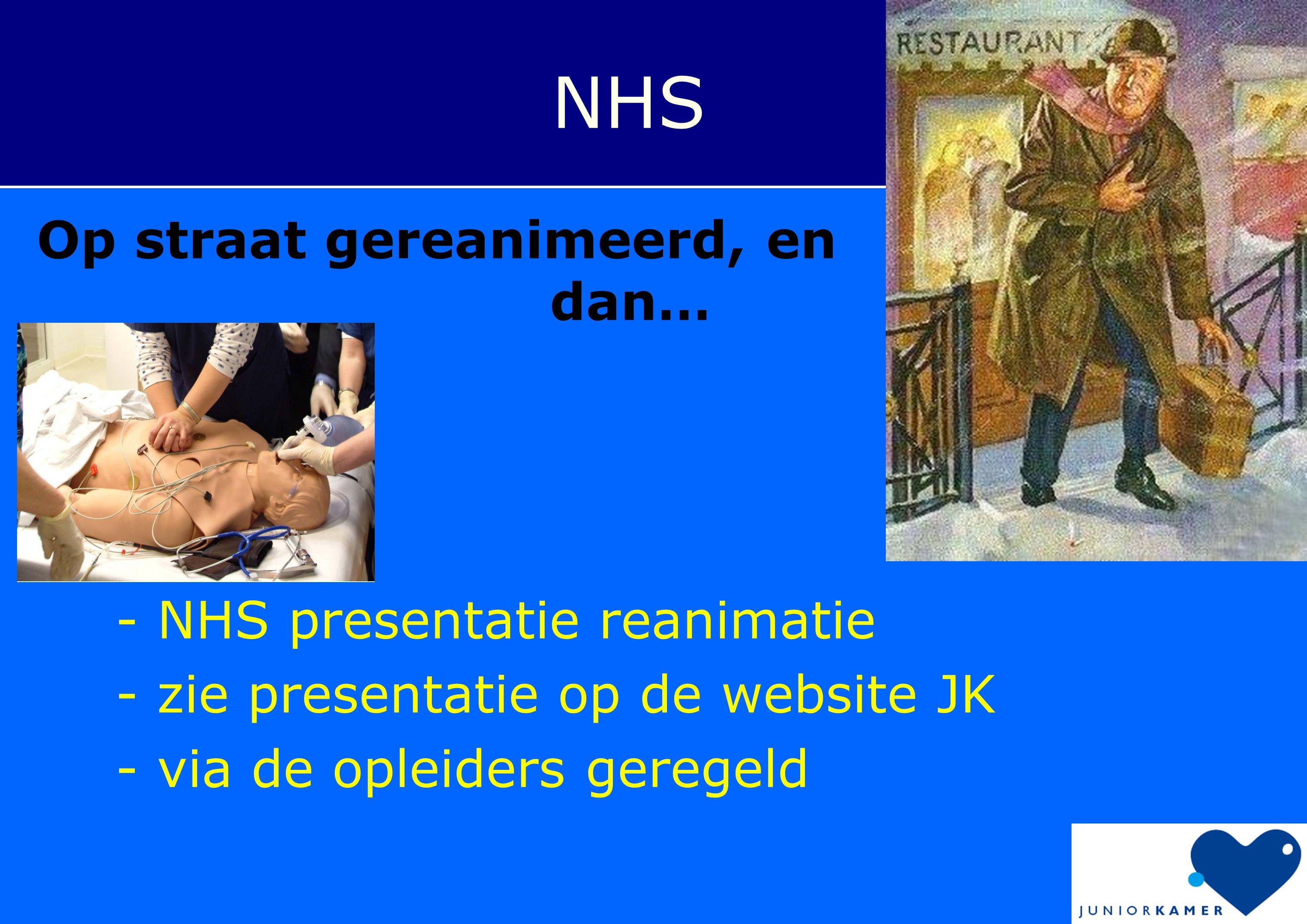 - NHS presentatie reanimatie - zie presentatie op de website JK - via de opleiders geregeld NHS Op straat gereanimeerd, en dan…