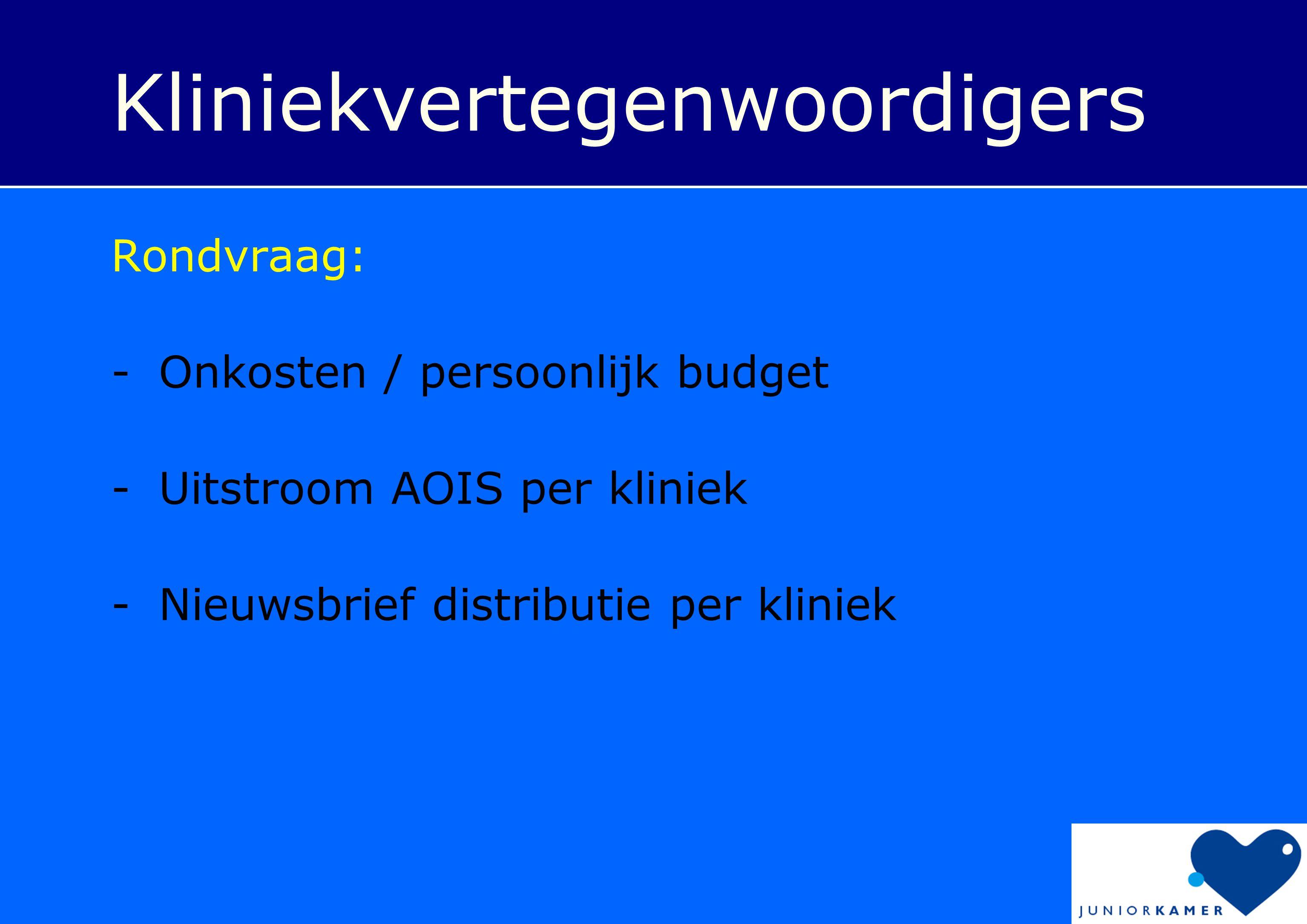 Kliniekvertegenwoordigers Rondvraag: -Onkosten / persoonlijk budget -Uitstroom AOIS per kliniek -Nieuwsbrief distributie per kliniek