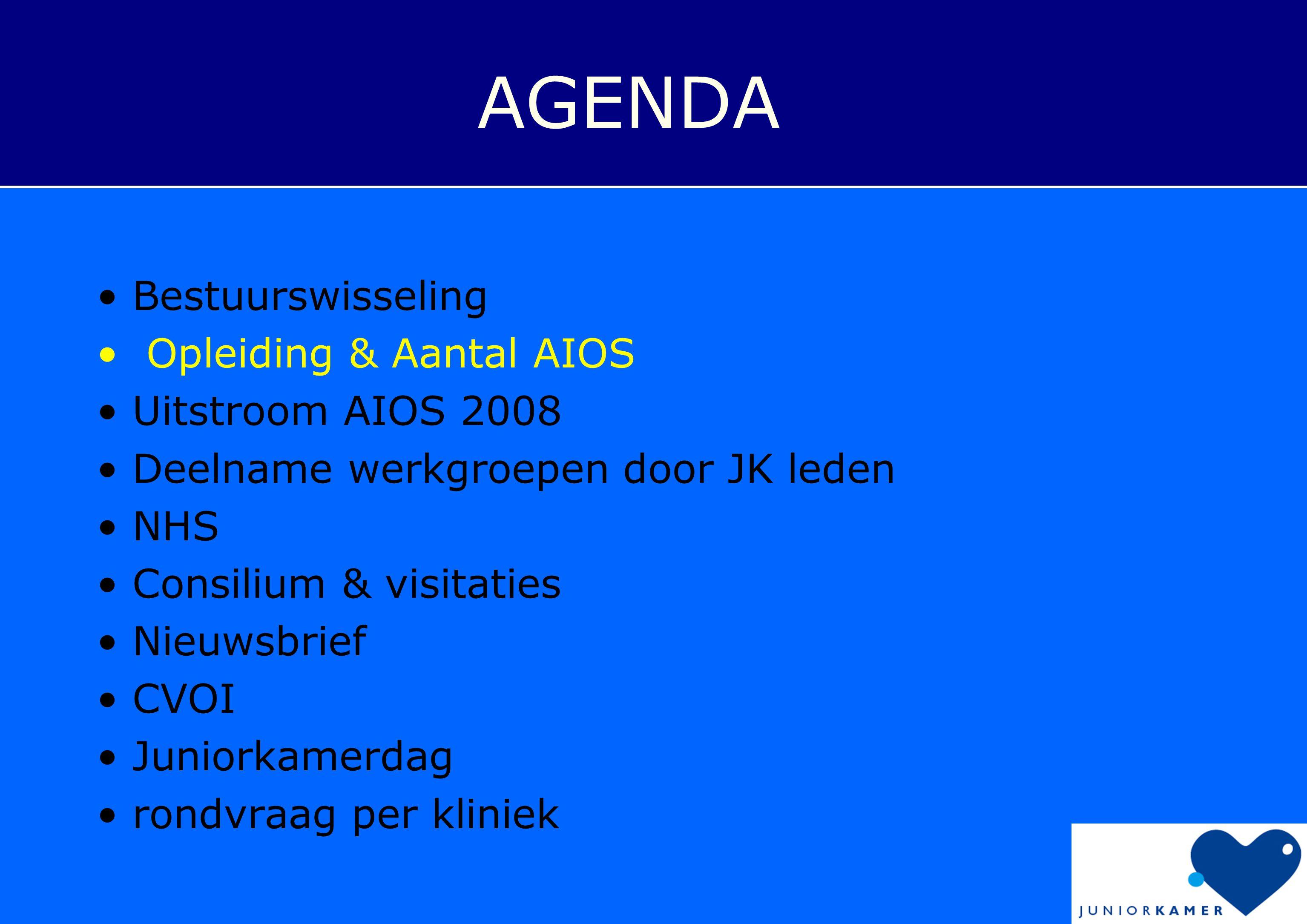 AGENDA • Bestuurswisseling • Opleiding & Aantal AIOS • Uitstroom AIOS 2008 • Deelname werkgroepen door JK leden • NHS • Consilium & visitaties • Nieuwsbrief • CVOI • Juniorkamerdag • rondvraag per kliniek