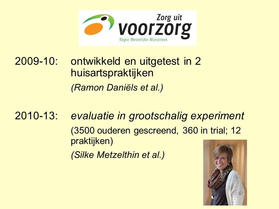 2009-10:ontwikkeld en uitgetest in 2 huisartspraktijken (Ramon Daniëls et al.) 2010-13:evaluatie in grootschalig experiment (3500 ouderen gescreend, 360 in trial; 12 praktijken) (Silke Metzelthin et al.)