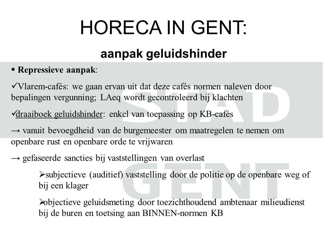 HORECA IN GENT: aanpak geluidshinder  Repressieve aanpak:  Vlarem-cafés: we gaan ervan uit dat deze cafés normen naleven door bepalingen vergunning;