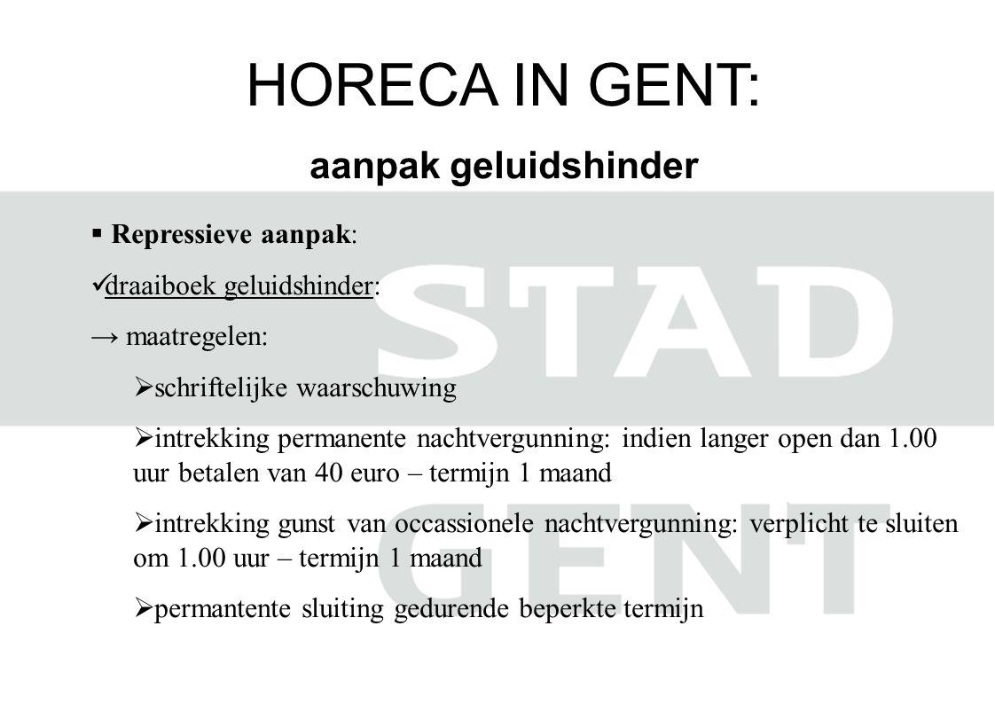 HORECA IN GENT: aanpak geluidshinder  Repressieve aanpak:  draaiboek geluidshinder: → maatregelen:  schriftelijke waarschuwing  intrekking permane