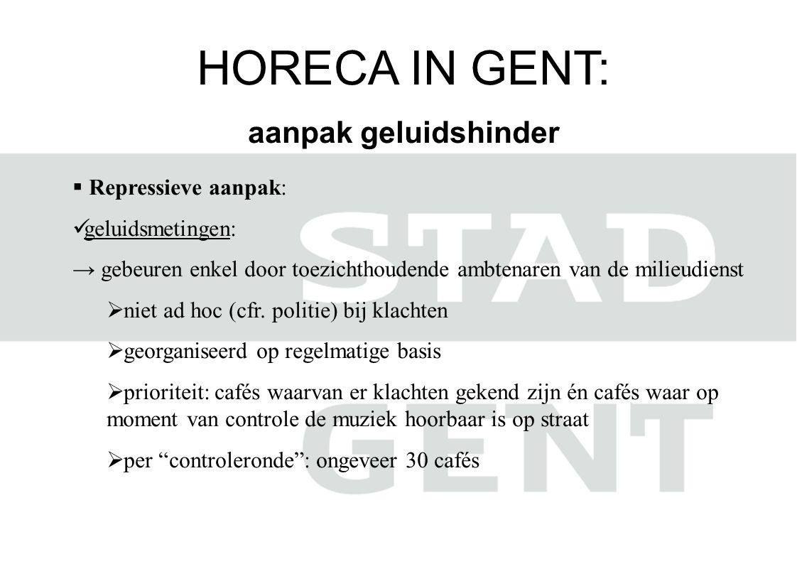 HORECA IN GENT: aanpak geluidshinder  Repressieve aanpak:  geluidsmetingen: → gebeuren enkel door toezichthoudende ambtenaren van de milieudienst  niet ad hoc (cfr.