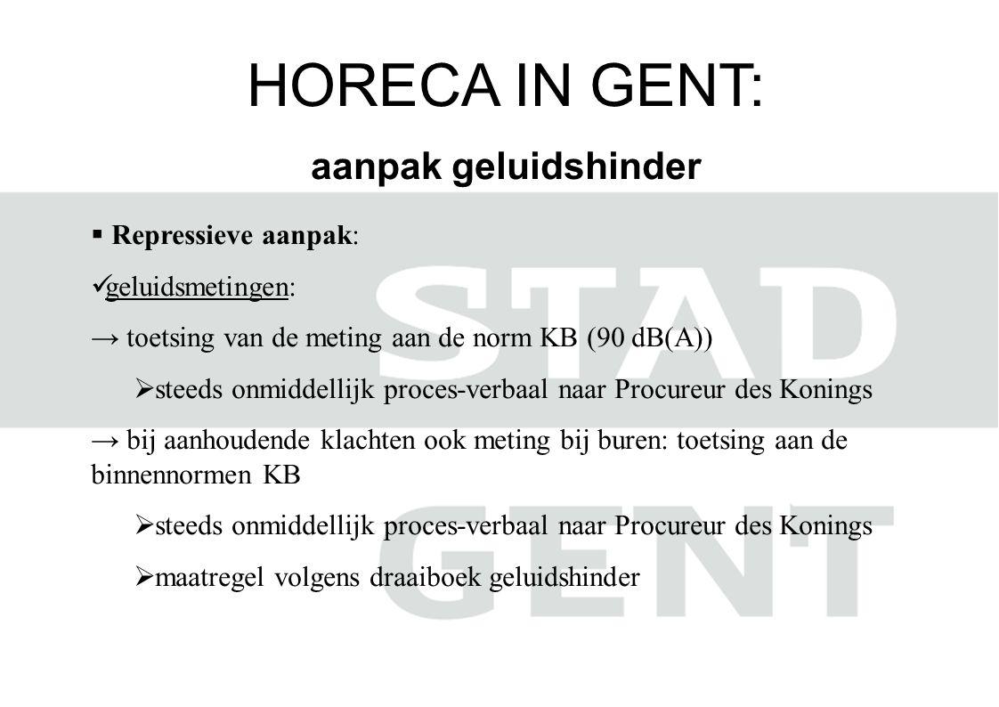 HORECA IN GENT: aanpak geluidshinder  Repressieve aanpak:  geluidsmetingen: → toetsing van de meting aan de norm KB (90 dB(A))  steeds onmiddellijk