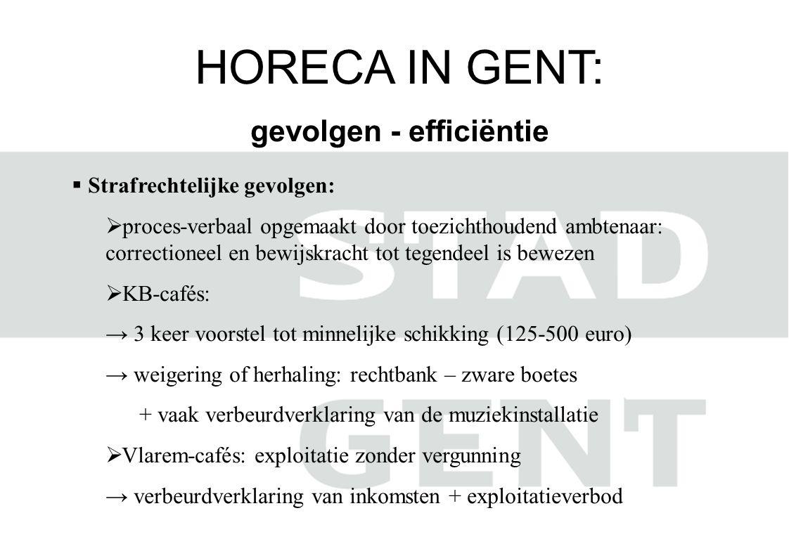 HORECA IN GENT: gevolgen - efficiëntie  Strafrechtelijke gevolgen:  proces-verbaal opgemaakt door toezichthoudend ambtenaar: correctioneel en bewijs