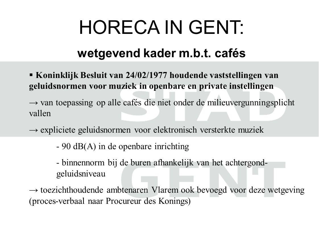 HORECA IN GENT: wetgevend kader m.b.t. cafés  Koninklijk Besluit van 24/02/1977 houdende vaststellingen van geluidsnormen voor muziek in openbare en