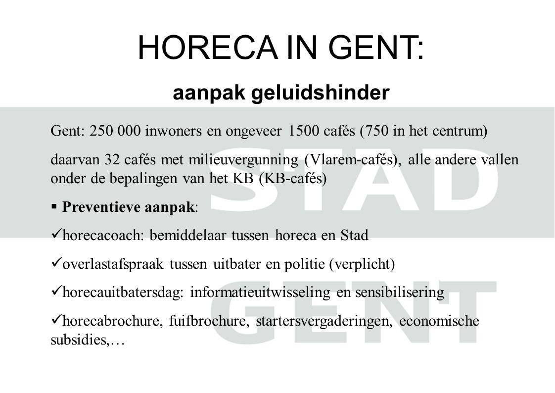 HORECA IN GENT: aanpak geluidshinder Gent: 250 000 inwoners en ongeveer 1500 cafés (750 in het centrum) daarvan 32 cafés met milieuvergunning (Vlarem-cafés), alle andere vallen onder de bepalingen van het KB (KB-cafés)  Preventieve aanpak:  horecacoach: bemiddelaar tussen horeca en Stad  overlastafspraak tussen uitbater en politie (verplicht)  horecauitbatersdag: informatieuitwisseling en sensibilisering  horecabrochure, fuifbrochure, startersvergaderingen, economische subsidies,…