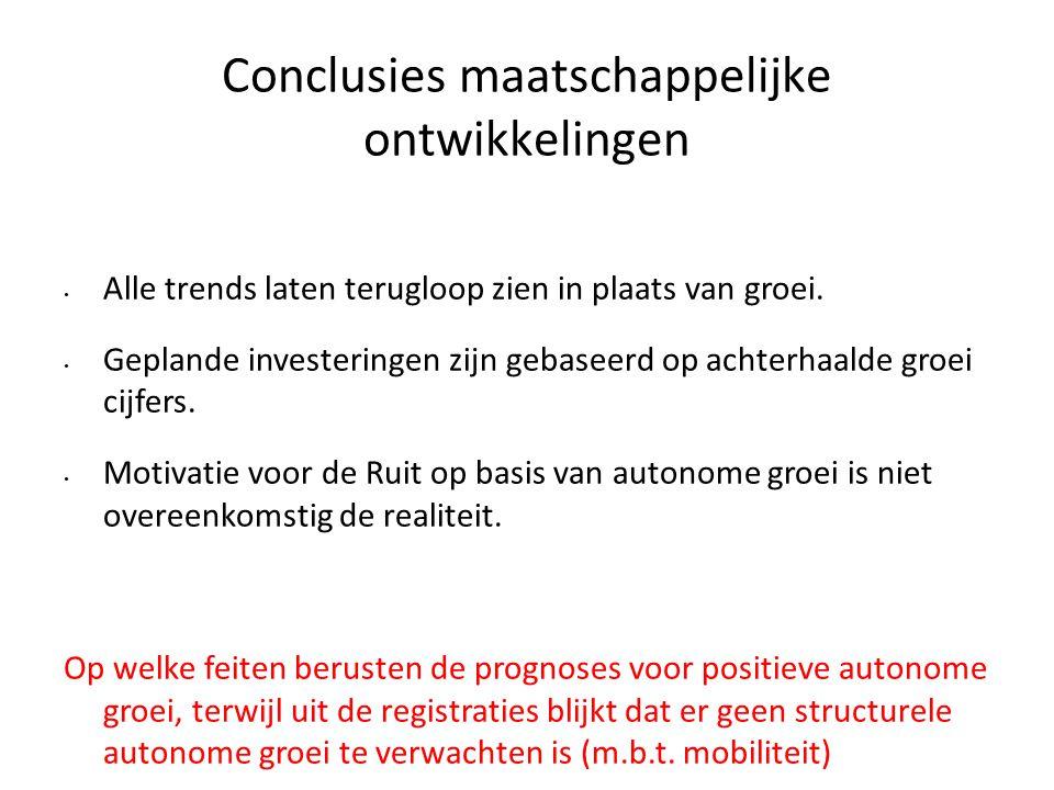 Conclusies maatschappelijke ontwikkelingen • Alle trends laten terugloop zien in plaats van groei. • Geplande investeringen zijn gebaseerd op achterha