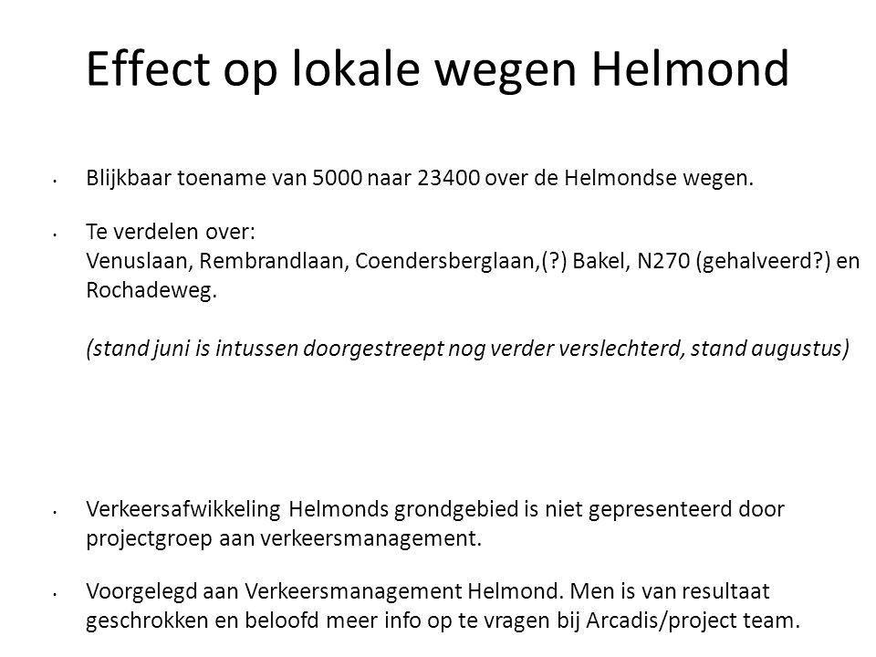 Effect op lokale wegen Helmond • Blijkbaar toename van 5000 naar 23400 over de Helmondse wegen. • Te verdelen over: Venuslaan, Rembrandlaan, Coendersb