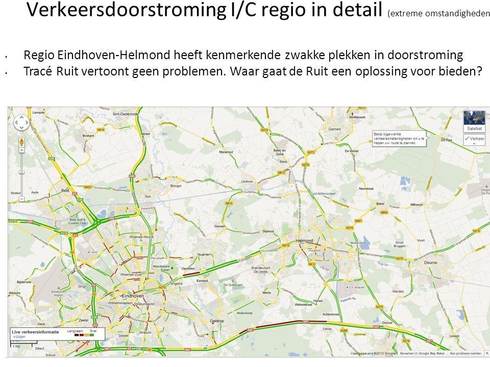 Verkeersdoorstroming I/C regio in detail (extreme omstandigheden) • Regio Eindhoven-Helmond heeft kenmerkende zwakke plekken in doorstroming • Tracé R