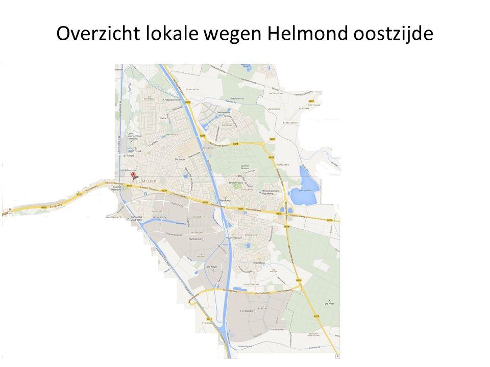 Overzicht lokale wegen Helmond oostzijde