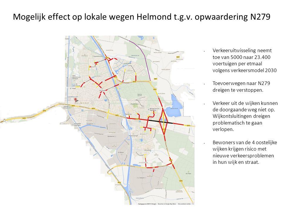 Mogelijk effect op lokale wegen Helmond t.g.v. opwaardering N279 • Verkeeruitwisseling neemt toe van 5000 naar 23.400 voertuigen per etmaal volgens ve
