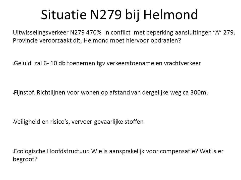 """Situatie N279 bij Helmond Uitwisselingsverkeer N279 470% in conflict met beperking aansluitingen """"A"""" 279. Provincie veroorzaakt dit, Helmond moet hier"""