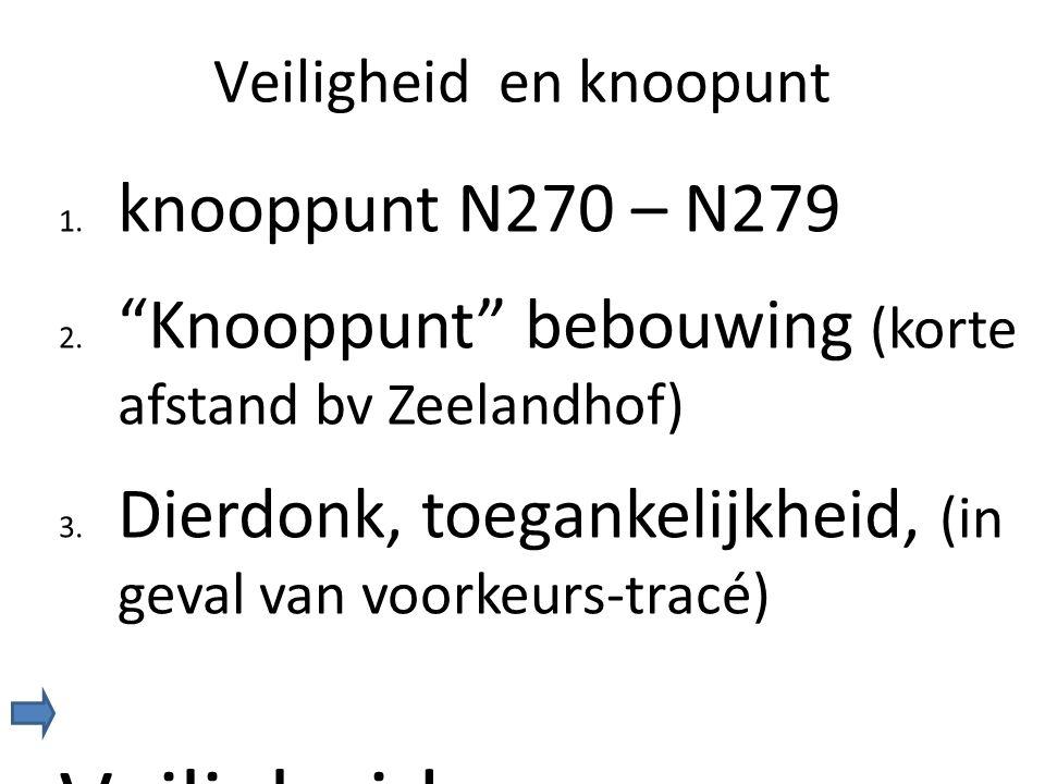 """Veiligheid en knoopunt 1. knooppunt N270 – N279 2. """"Knooppunt"""" bebouwing (korte afstand bv Zeelandhof) 3. Dierdonk, toegankelijkheid, (in geval van vo"""