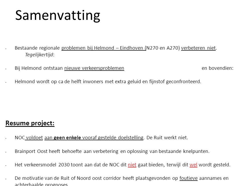 Samenvatting • Bestaande regionale problemen bij Helmond – Eindhoven (N270 en A270) verbeteren niet. Tegelijkertijd: • Bij Helmond ontstaan nieuwe ver