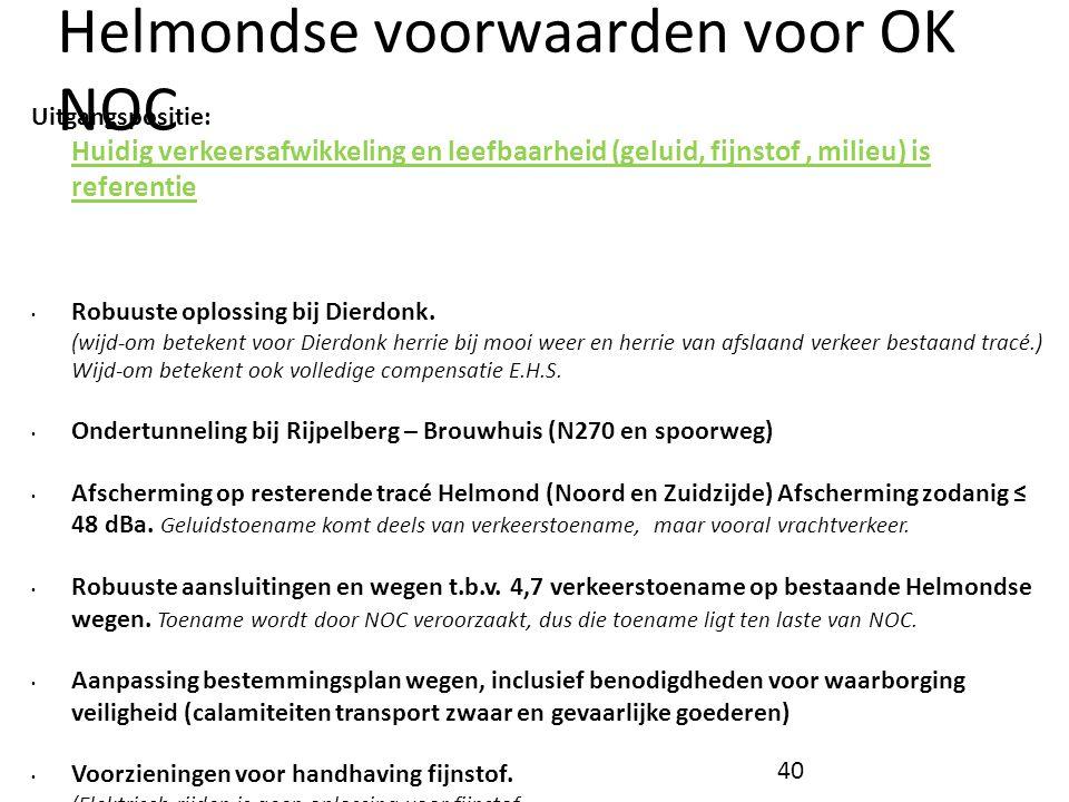 Helmondse voorwaarden voor OK NOC Uitgangspositie: Huidig verkeersafwikkeling en leefbaarheid (geluid, fijnstof, milieu) is referentie • Robuuste oplo