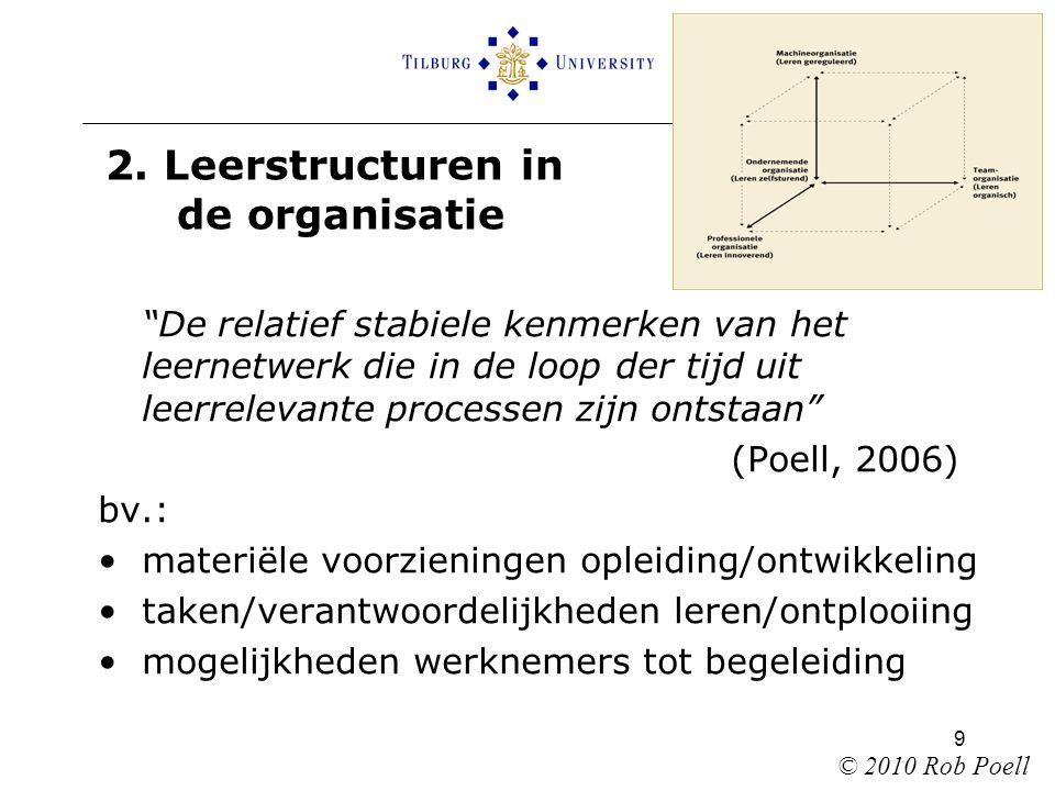 """9 2. Leerstructuren in de organisatie """"De relatief stabiele kenmerken van het leernetwerk die in de loop der tijd uit leerrelevante processen zijn ont"""