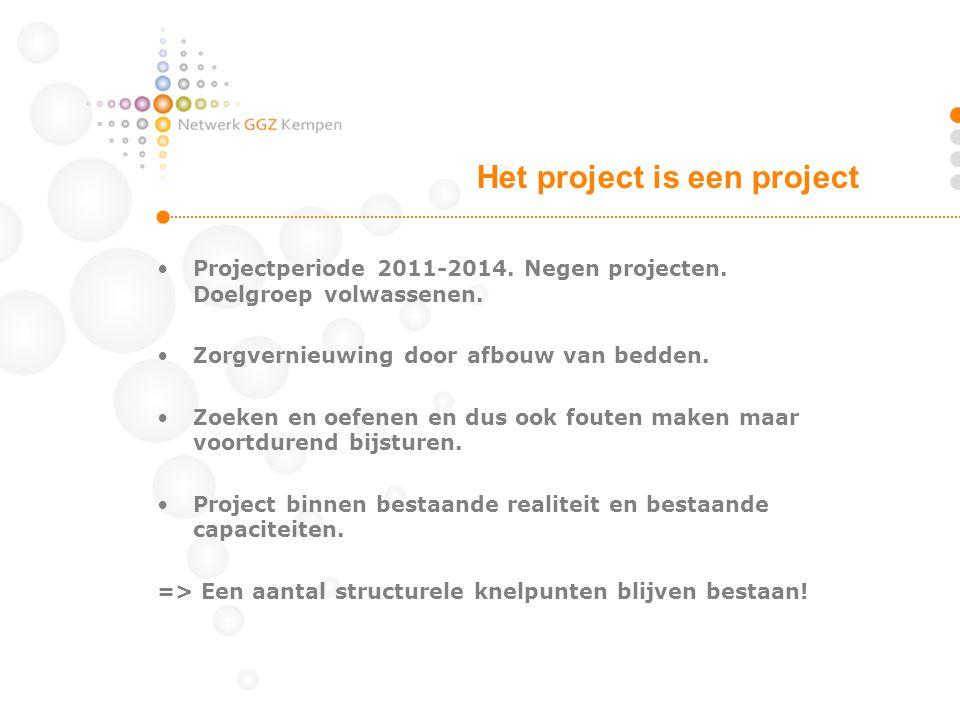 •Projectperiode 2011-2014. Negen projecten. Doelgroep volwassenen. •Zorgvernieuwing door afbouw van bedden. •Zoeken en oefenen en dus ook fouten maken