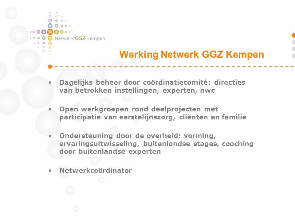 •Dagelijks beheer door coördinatiecomité: directies van betrokken instellingen, experten, nwc •Open werkgroepen rond deelprojecten met participatie va