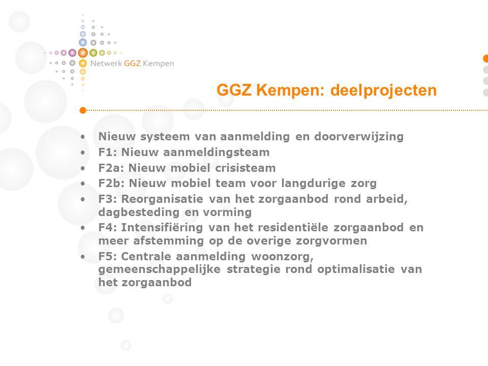 •Nieuw systeem van aanmelding en doorverwijzing •F1: Nieuw aanmeldingsteam •F2a: Nieuw mobiel crisisteam •F2b: Nieuw mobiel team voor langdurige zorg