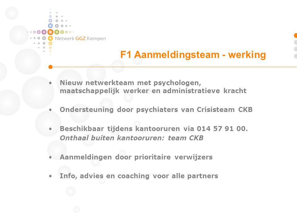 •Nieuw netwerkteam met psychologen, maatschappelijk werker en administratieve kracht •Ondersteuning door psychiaters van Crisisteam CKB •Beschikbaar t