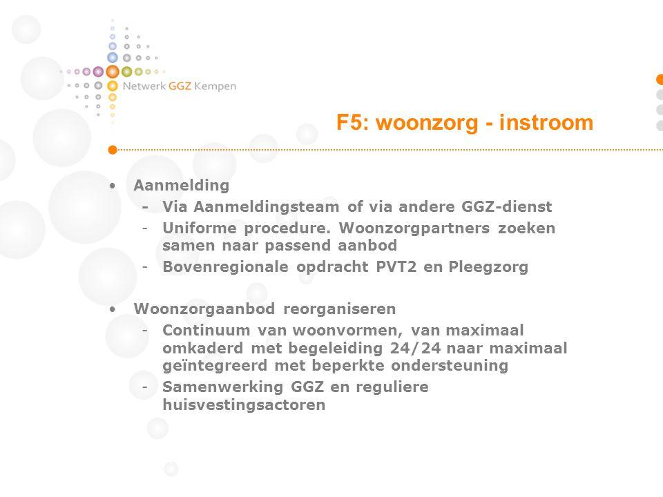 •Aanmelding -Via Aanmeldingsteam of via andere GGZ-dienst -Uniforme procedure. Woonzorgpartners zoeken samen naar passend aanbod -Bovenregionale opdra