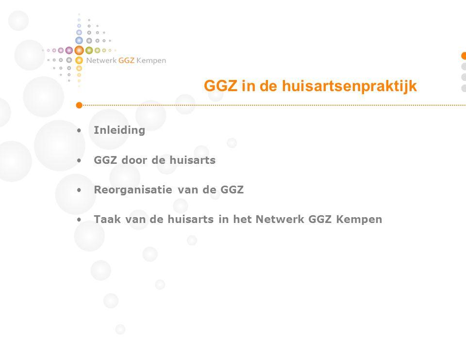 •Inleiding •GGZ door de huisarts •Reorganisatie van de GGZ •Taak van de huisarts in het Netwerk GGZ Kempen GGZ in de huisartsenpraktijk