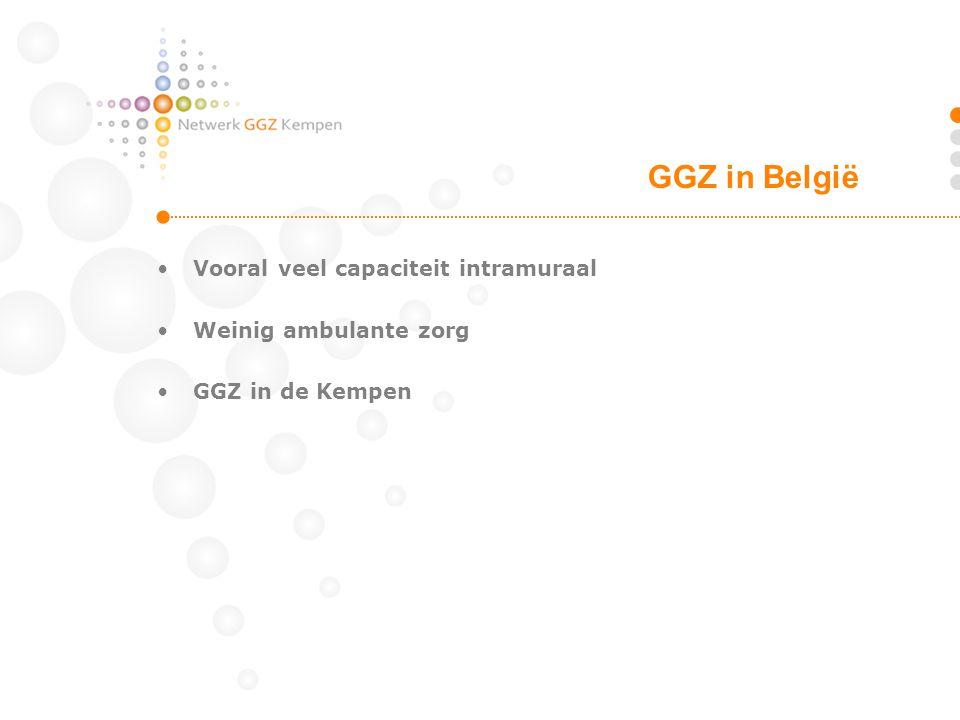 •Vooral veel capaciteit intramuraal •Weinig ambulante zorg •GGZ in de Kempen GGZ in België