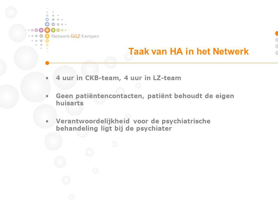 •4 uur in CKB-team, 4 uur in LZ-team •Geen patiëntencontacten, patiënt behoudt de eigen huisarts •Verantwoordelijkheid voor de psychiatrische behandel