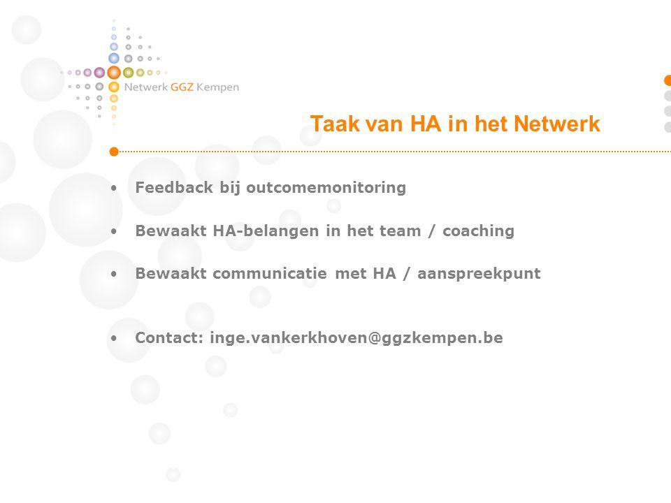 •Feedback bij outcomemonitoring •Bewaakt HA-belangen in het team / coaching •Bewaakt communicatie met HA / aanspreekpunt •Contact: inge.vankerkhoven@g
