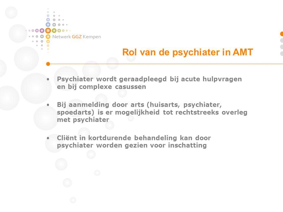 •Psychiater wordt geraadpleegd bij acute hulpvragen en bij complexe casussen •Bij aanmelding door arts (huisarts, psychiater, spoedarts) is er mogelij