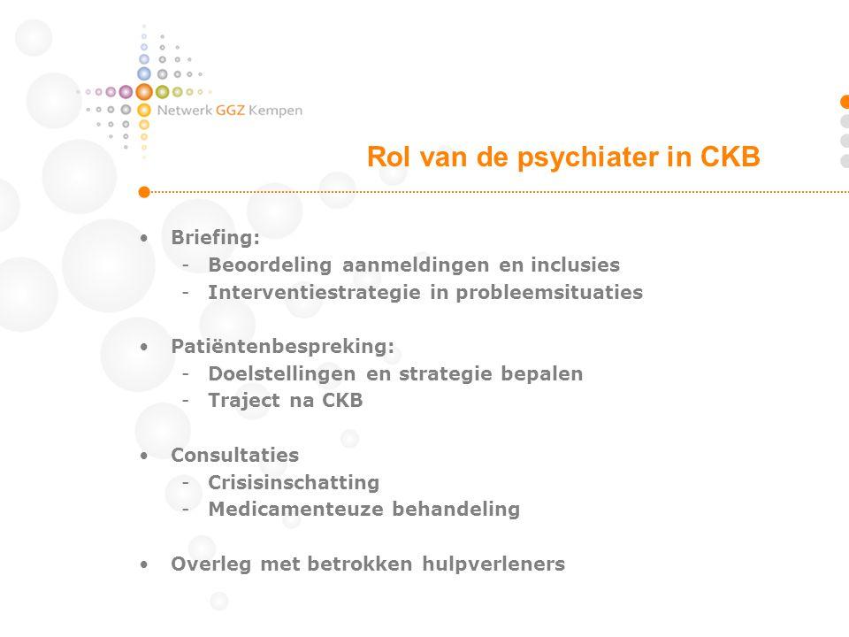 •Briefing: -Beoordeling aanmeldingen en inclusies -Interventiestrategie in probleemsituaties •Patiëntenbespreking: -Doelstellingen en strategie bepale