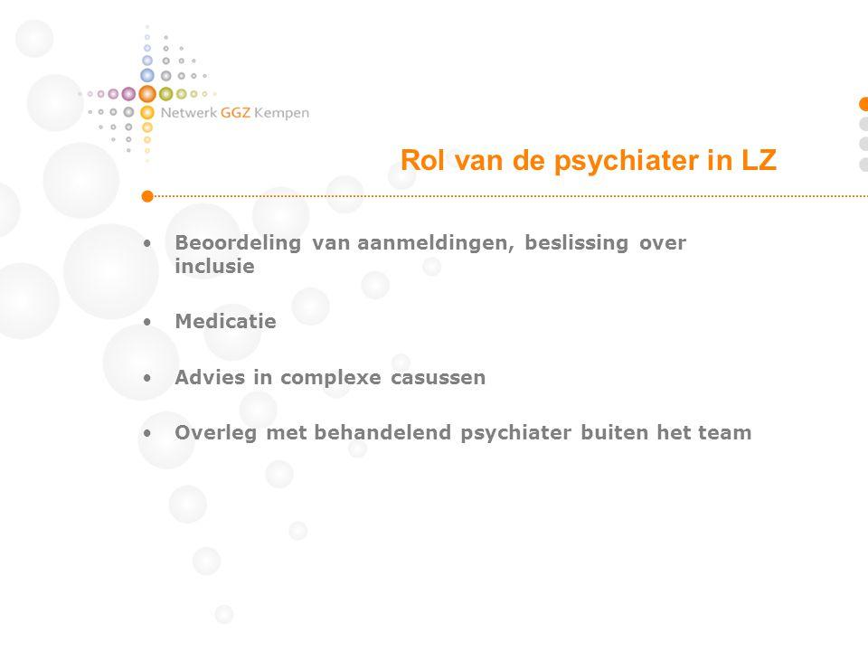 •Beoordeling van aanmeldingen, beslissing over inclusie •Medicatie •Advies in complexe casussen •Overleg met behandelend psychiater buiten het team Ro