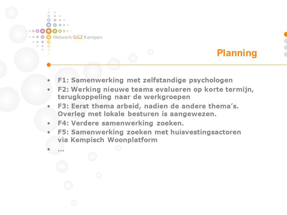 •F1: Samenwerking met zelfstandige psychologen •F2: Werking nieuwe teams evalueren op korte termijn, terugkoppeling naar de werkgroepen •F3: Eerst the