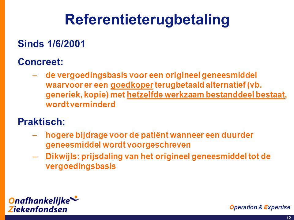 12 Operation & Expertise Referentieterugbetaling Sinds 1/6/2001 Concreet: –de vergoedingsbasis voor een origineel geneesmiddel waarvoor er een goedkoper terugbetaald alternatief (vb.